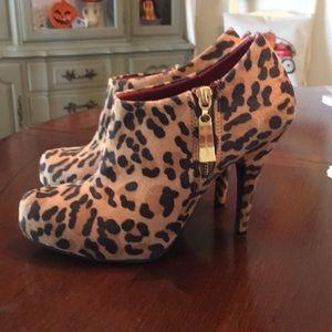 Leopard platform heel Booties